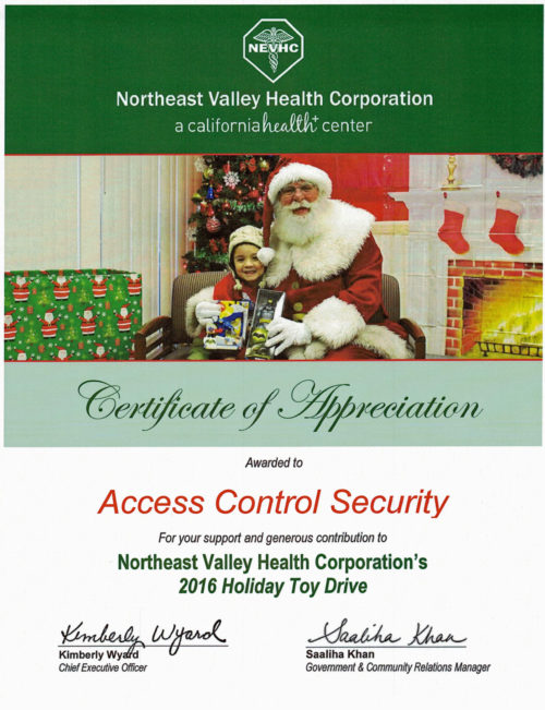 Access Control Security-Certificate of Appreciation - Northeast Valley Health Corp. 01192017