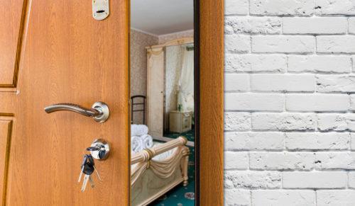 hotel door opening